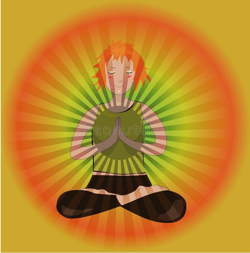 Pray a menina da ioga ilustração royalty free