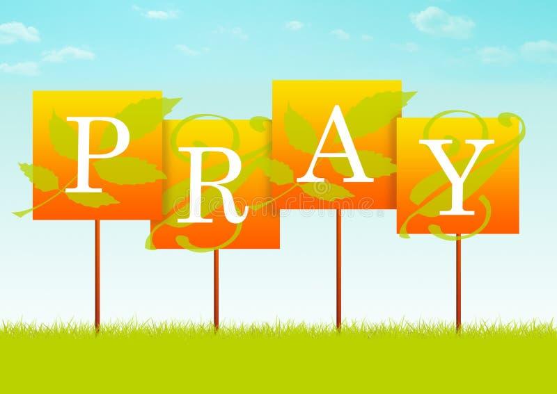 Pray o sinal ilustração royalty free