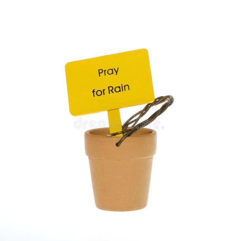Pray for Rain Sign in Empty Pot royalty free stock photo