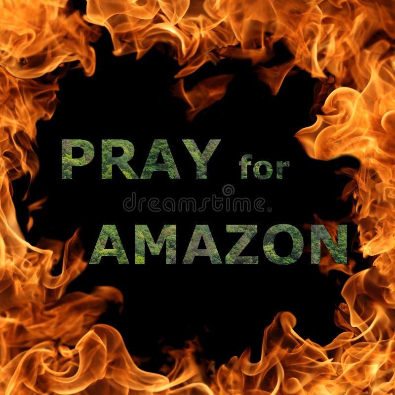 Pray za koncepcję Amazonii dotyczącą pożarów lasów deszczowych Amazonii w Brazylii fotografia stock