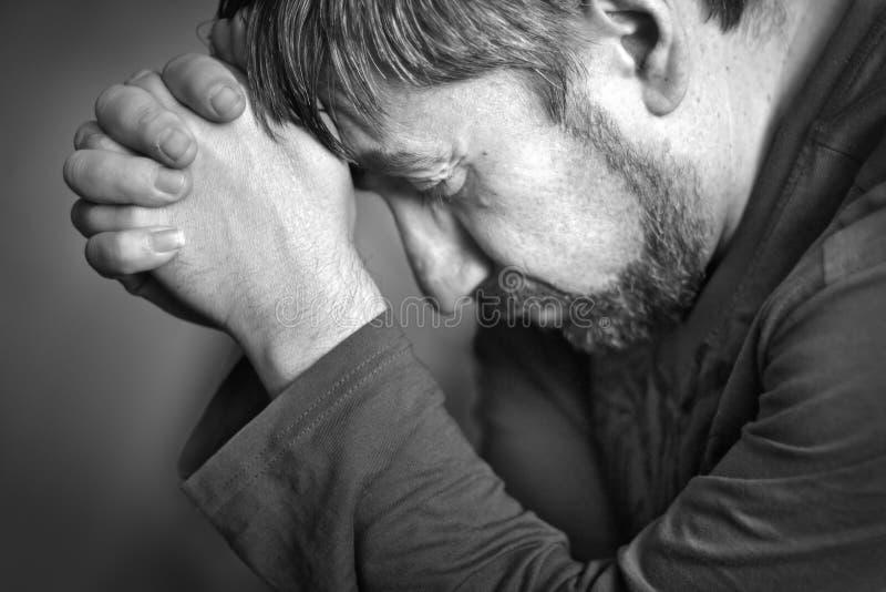 Prayer. Man folded his hands in prayer