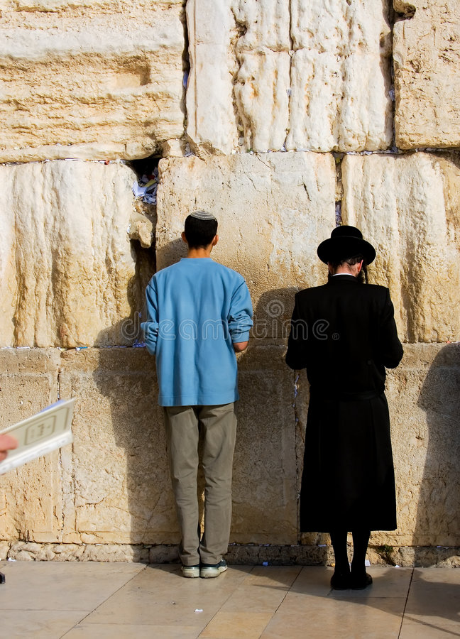 Prayer. A religious orthodox Jews pray at the western wall. Jerusalem, Israel royalty free stock images