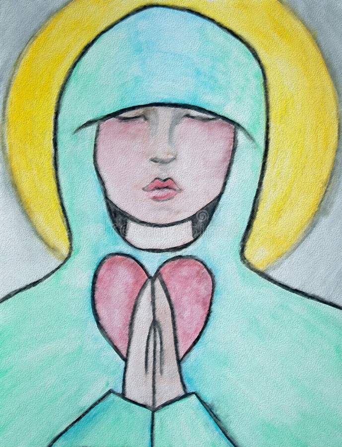 Prayer. With eyes closed, she holds her hands together, against her heart, in a prayer for peace royalty free illustration