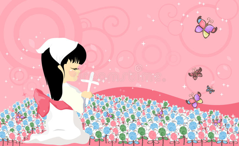 Download Prayer child stock illustration. Image of girl, meadow - 27894462