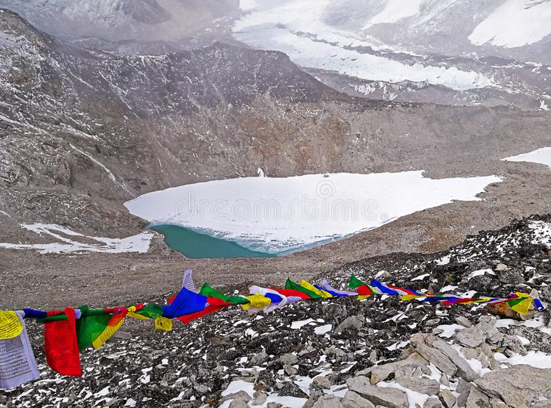 Prayer Colored Flags Frozen Lake Himalayas Mountains royalty free stock photos