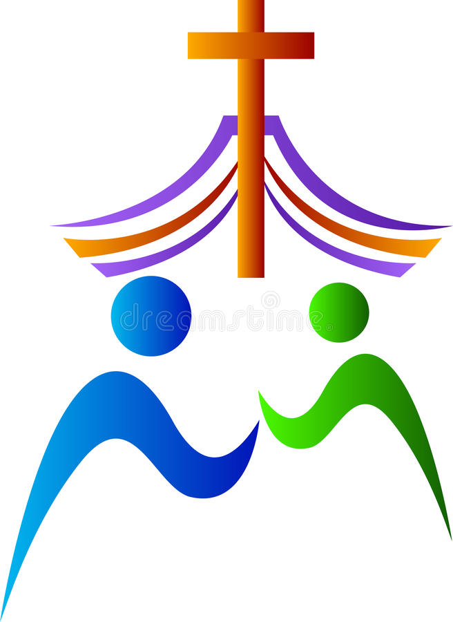 Prayer with cross vector illustration