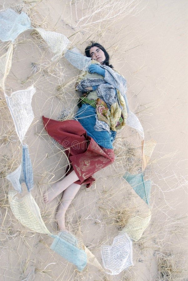 Tattered Prayer Dreamer Sand Woman stock photography