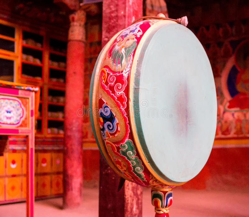 Prayer drum in buddhist monastery, Ladakh stock photos