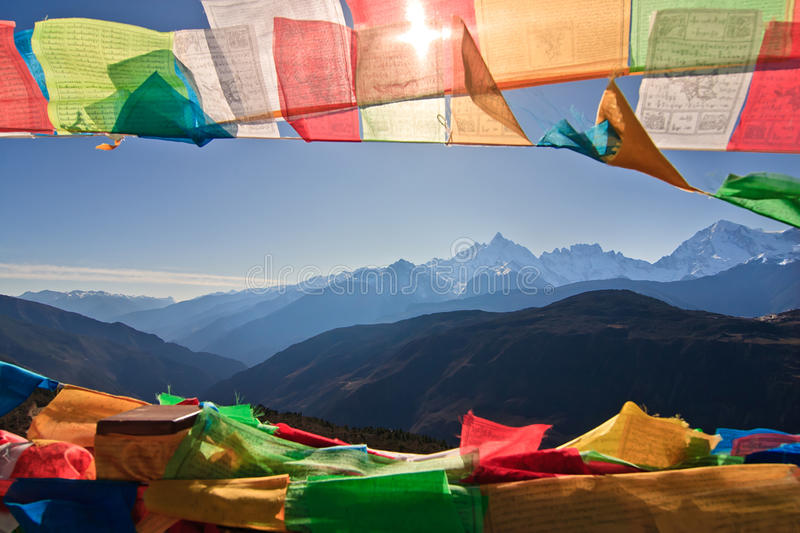 Prayer Flag and Distant mountain. In yunan,in china stock image