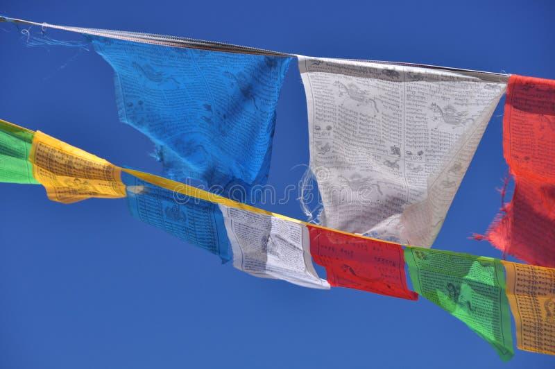 Prayer flags. Buddhist prayer flags in Tibet, China royalty free stock photo