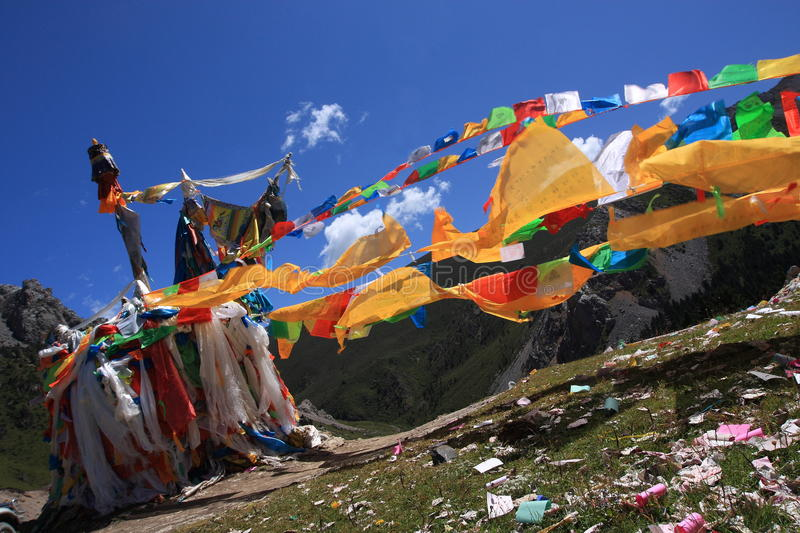 Prayer flags. Tibetan prayer flags in different colors stock photo