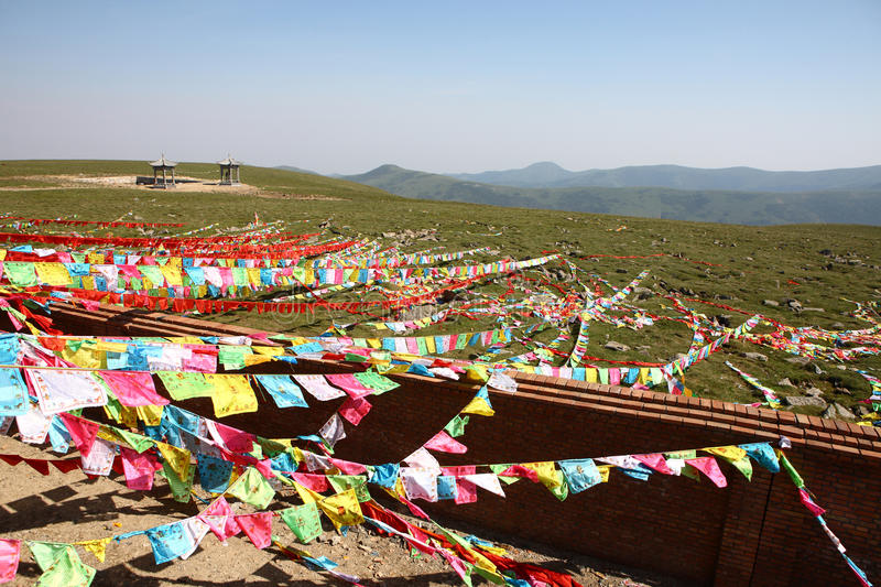 Prayer flags. On the wutaishan mountains in china royalty free stock photo
