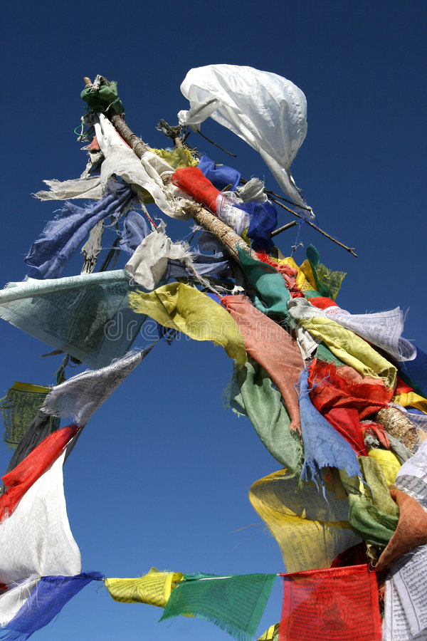 Prayer flags. On top of mountain stock image