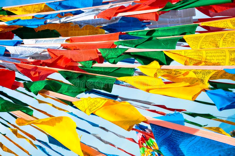 Colorful prayer flags. Prayer flags in china Tibet royalty free stock image