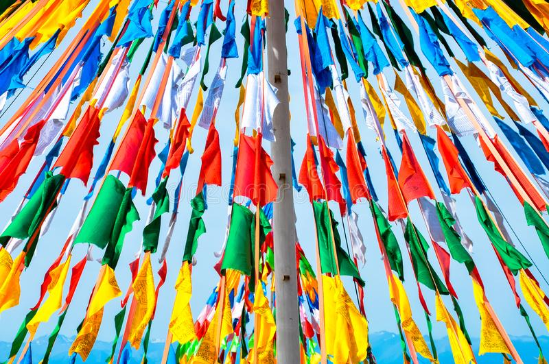 Colorful prayer flags. Prayer flags in china Tibet royalty free stock photos