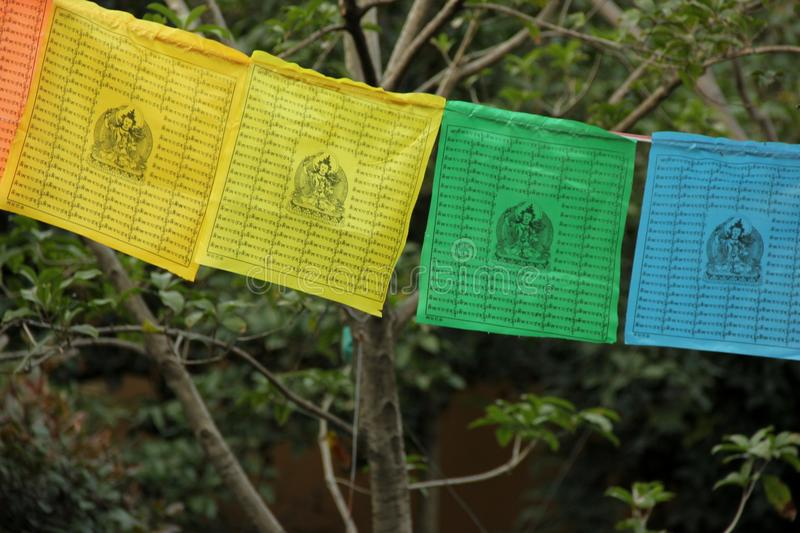 Prayer Flags. Colorful Buddhist Prayer Flags decorating a temple in Zhujiajiao, China royalty free stock photography