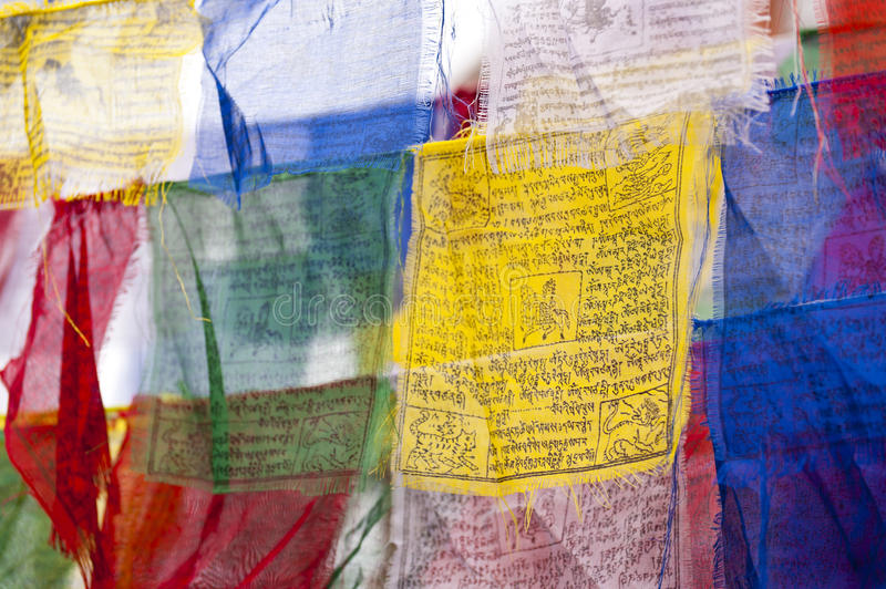 Prayer Flags. Detail of colorful nepalese Prayer Flags stock photo