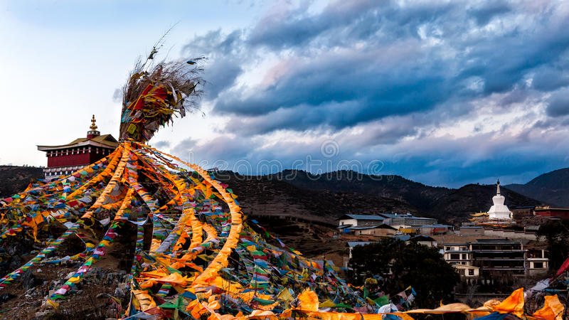 Prayer Flags. Prayer flagis a colorful rectangularcloth, often found strung along mountain ridges and peaks high in theHimalayas. They are used to royalty free stock photography