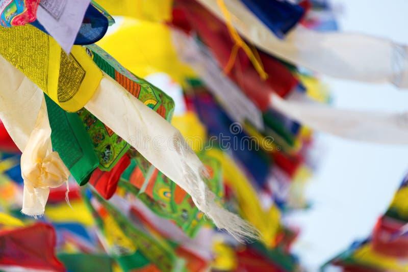 Prayer flags. Flying in the wind at Bodhnath stupa in Kathmandu, Nepal stock image