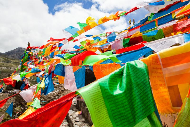 The prayer flags on the moutain on the way stock images