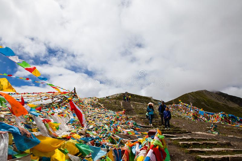 The prayer flags on the moutain on the way royalty free stock image