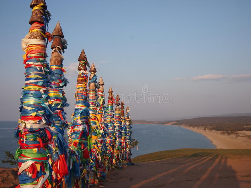 Prayer Flags on Olkhon Island stock images
