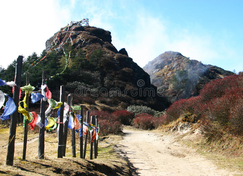 Prayer flags from path up to hill, northeast India royalty free stock photo