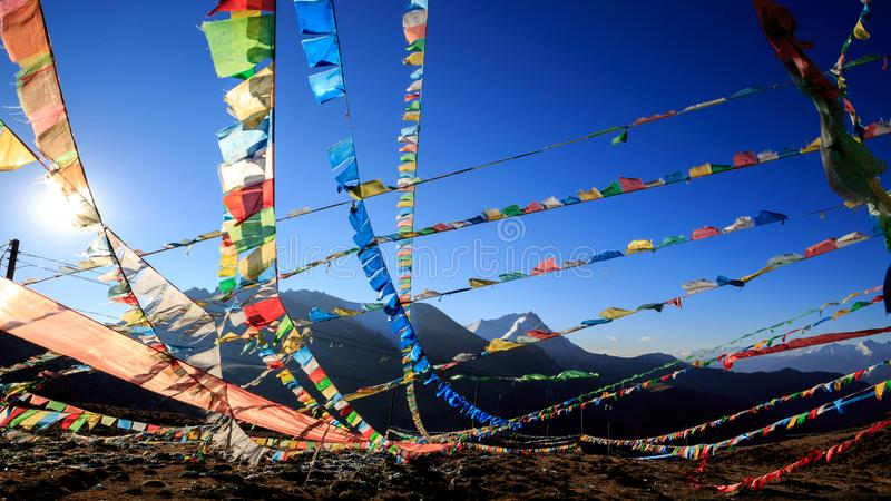 Prayer flags. The Prayer flags on the side of the road stock photos