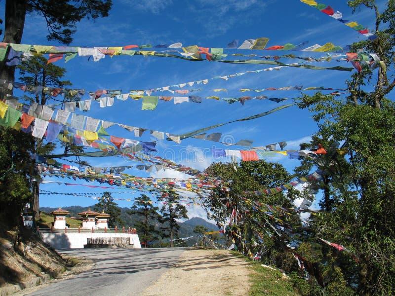 Prayer flags and stupa royalty free stock photo