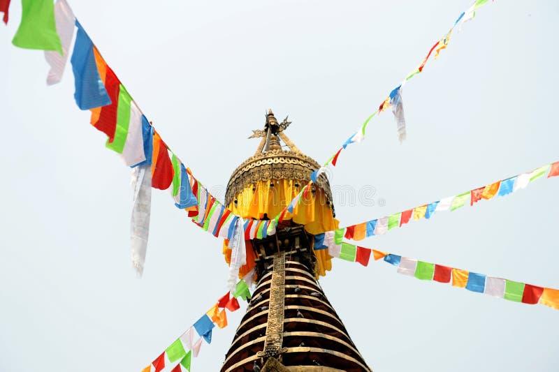Prayer flags on stupa in Kathmandu stock photography