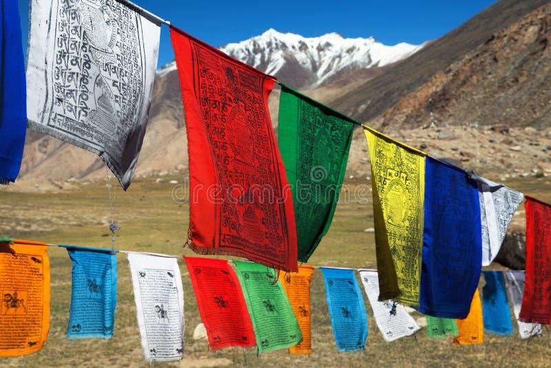 Prayer flags with stupas - India. Prayer flags with stupas - Himachal Pradesh - India royalty free stock photos