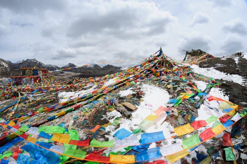 Prayer flags. Tibetan's prayer flags(Jingfan) in the mountains royalty free stock photos