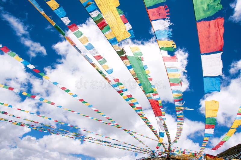 Prayer flags. The tibetan prayer flags under the sky stock photography