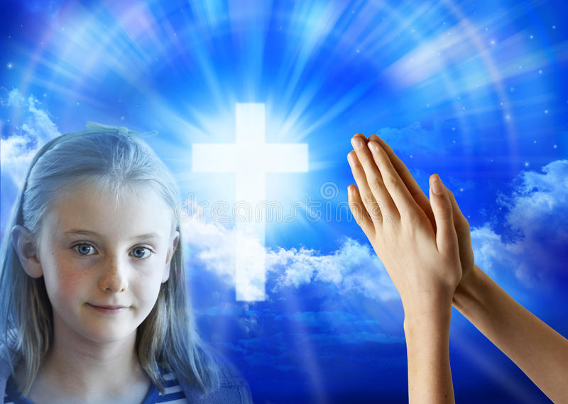 Prayer Girl Child Hands royalty free stock image