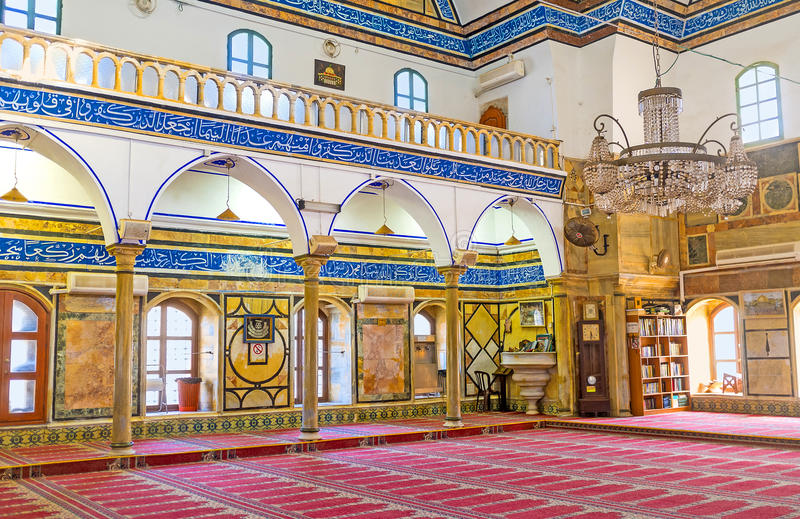 The prayer hall of Al-Jazzar mosque stock photography