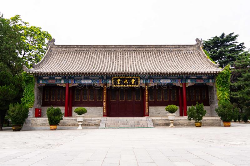 Prayer hall in the Wild Giant Goose Pagoda temple - Xi`an, China stock image