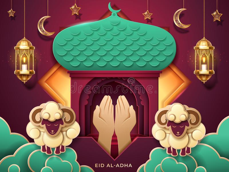 Prayer hands and islamic paper mosque entrance vector illustration