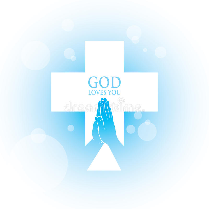 Download Prayer hands stock vector. Image of blue, christian, symbol - 32421044