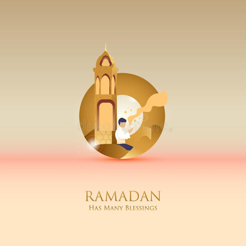 Prayer of hope has many blessings during the month of Ramadan stock illustration