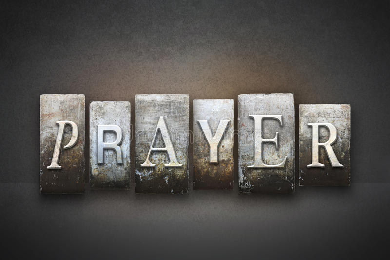 Prayer Letterpress stock photos