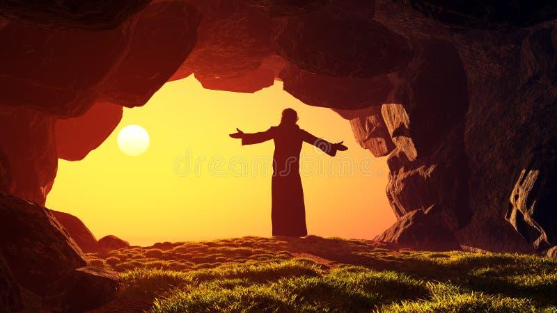 Prayer. Man praying in the cave. Jesus resurrection