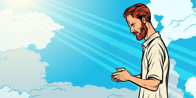 Prayer man, religion and faith. Islam Christianity spirituality vector illustration
