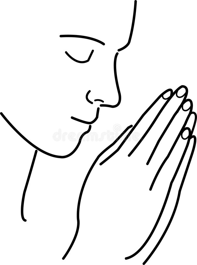 Prayer and Meditation. Simple but elegant illustration of a person in prayer, meditation or contemplation