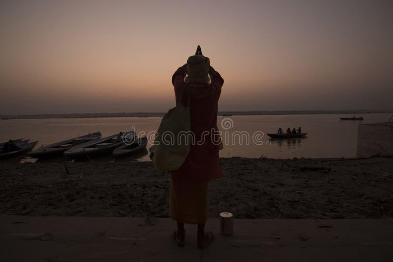 The prayer of a monk stock photos