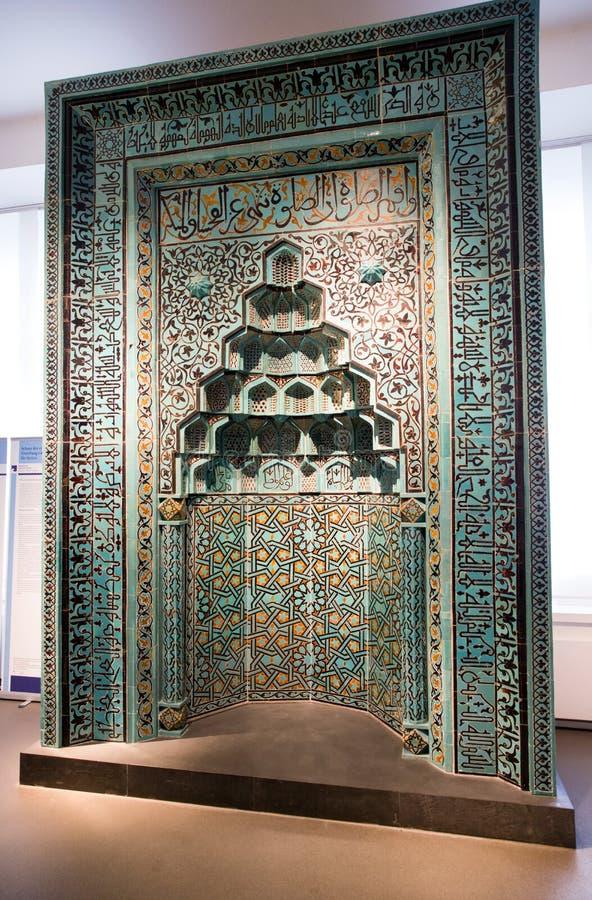 Prayer niche from Beyhekim Mosque in Turkey at Pergamon museum,. BERLIN, GERMANY - APRIL 7: Prayer niche from Beyhekim Mosque in Turkey at museum of Islamic art stock photos