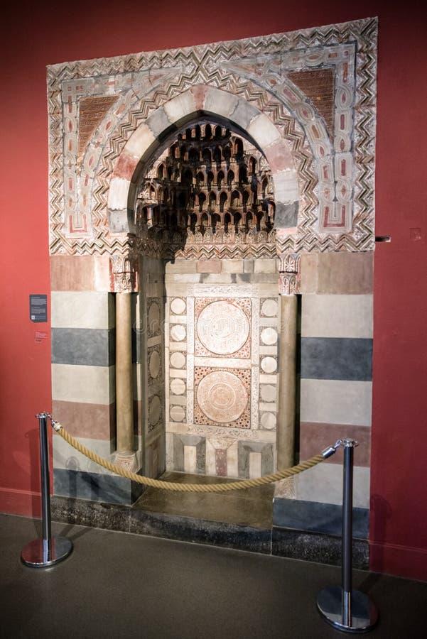 Prayer niche at Pergamon museum, Berlin. BERLIN, GERMANY - APRIL 7: Prayer niche at museum of Islamic art in Pergamon museum on April 7, 2017 in Berlin stock images