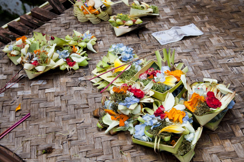 Prayer Offerings At Gua Gajah, Bali, Indonesia Royalty Free Stock Images