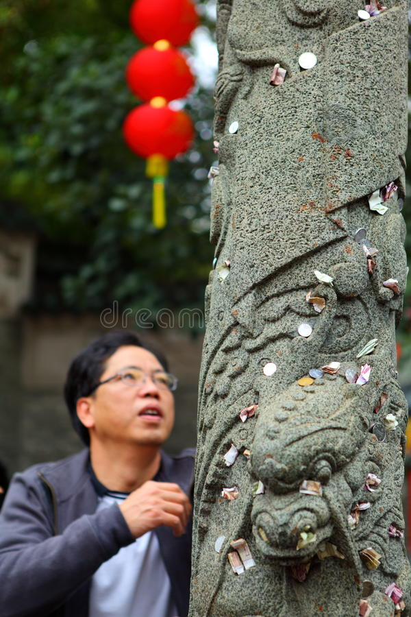 Prayer Put Money On Dragon Totem Wish Good Luck Editorial Image