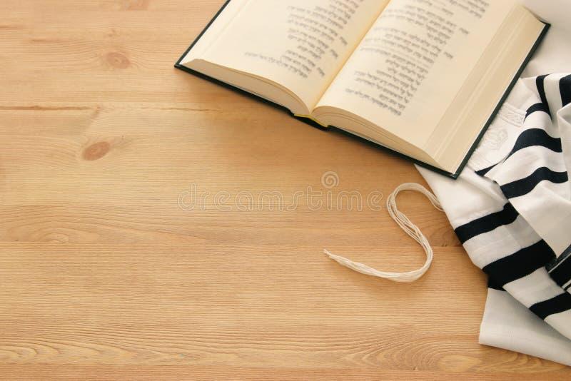 Prayer Shawl - Tallit and Prayer book jewish religious symbols. Rosh hashanah & x28;jewish New Year holiday& x29;, Shabbat and Yom kippur concept royalty free stock photography