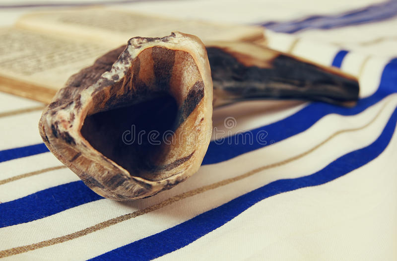 Prayer Shawl - Tallit and Shofar (horn) jewish religious symbol. stock image